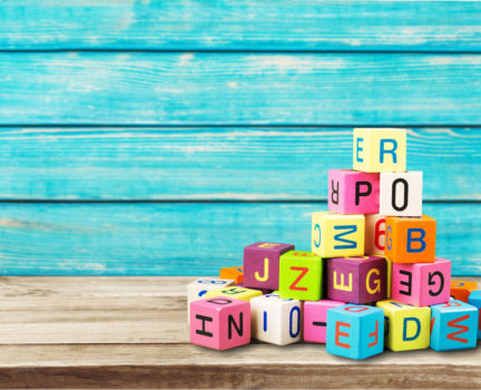 Colorful cubes on background. Educational concept.