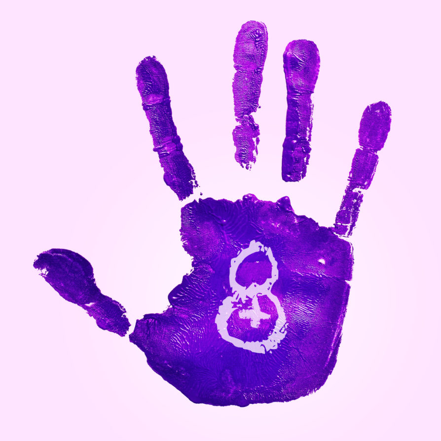 a violet handprint and the number 8 for the womens day, observed in March 8, on a pink background