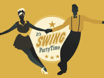 Young couple dancing swing, rock or lindy hop